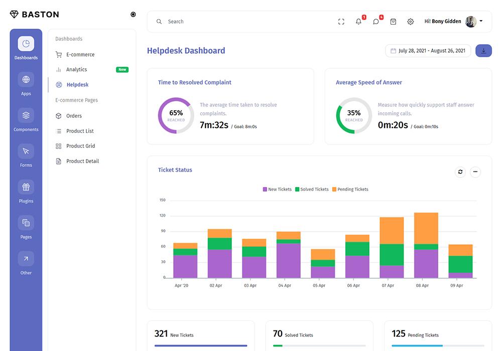 Baston Laravel Admin Dashboard Template Preview