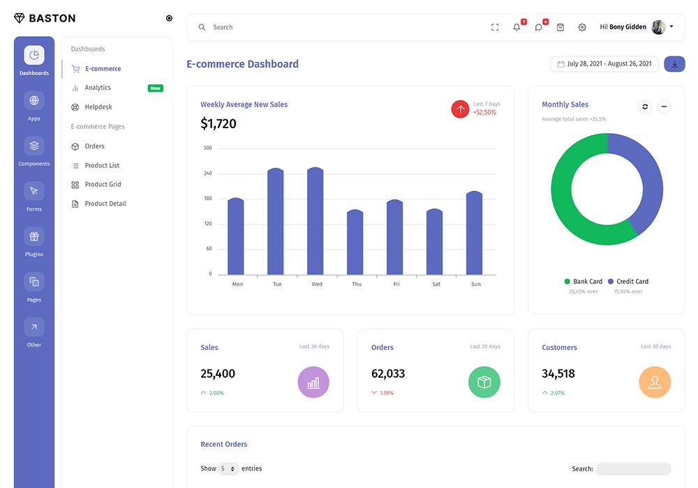 Baston Responsive Admin Dashboard Template Preview