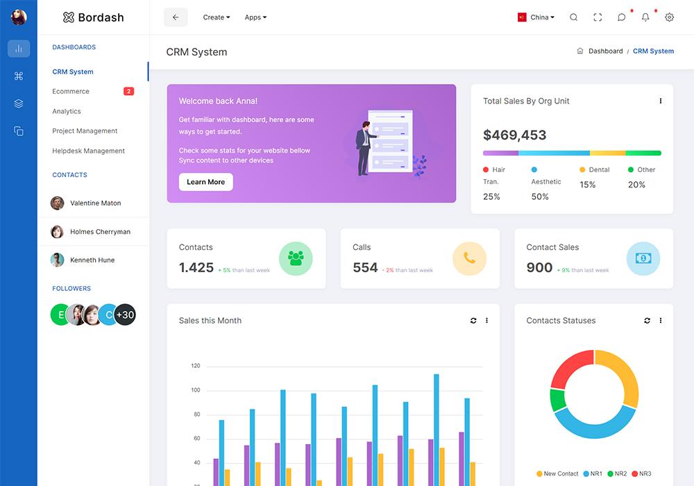 Bordash Responsive Admin Dashboard HTML5 Template Preview