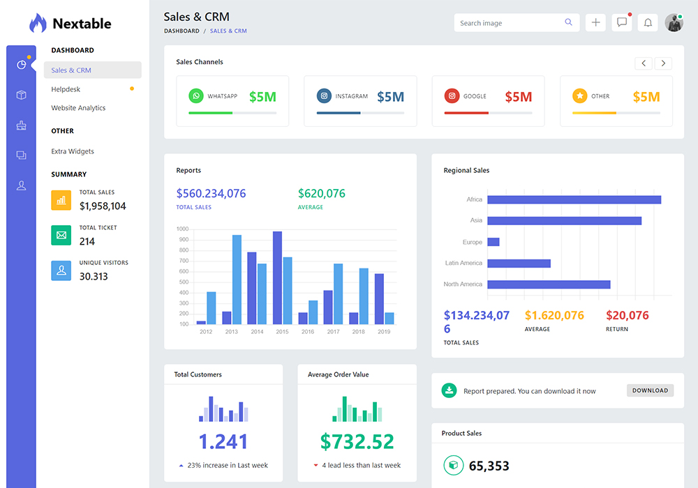 Nextable Bootstrap 4 Admin Dashboard Template Preview