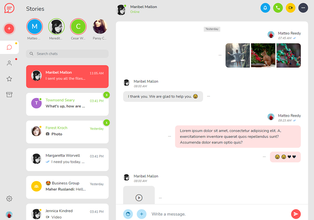 Tinno HTML5 Chat App Template Preview